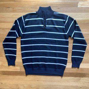 True Rock Quarter Zip Blue & White Stripe Sweater